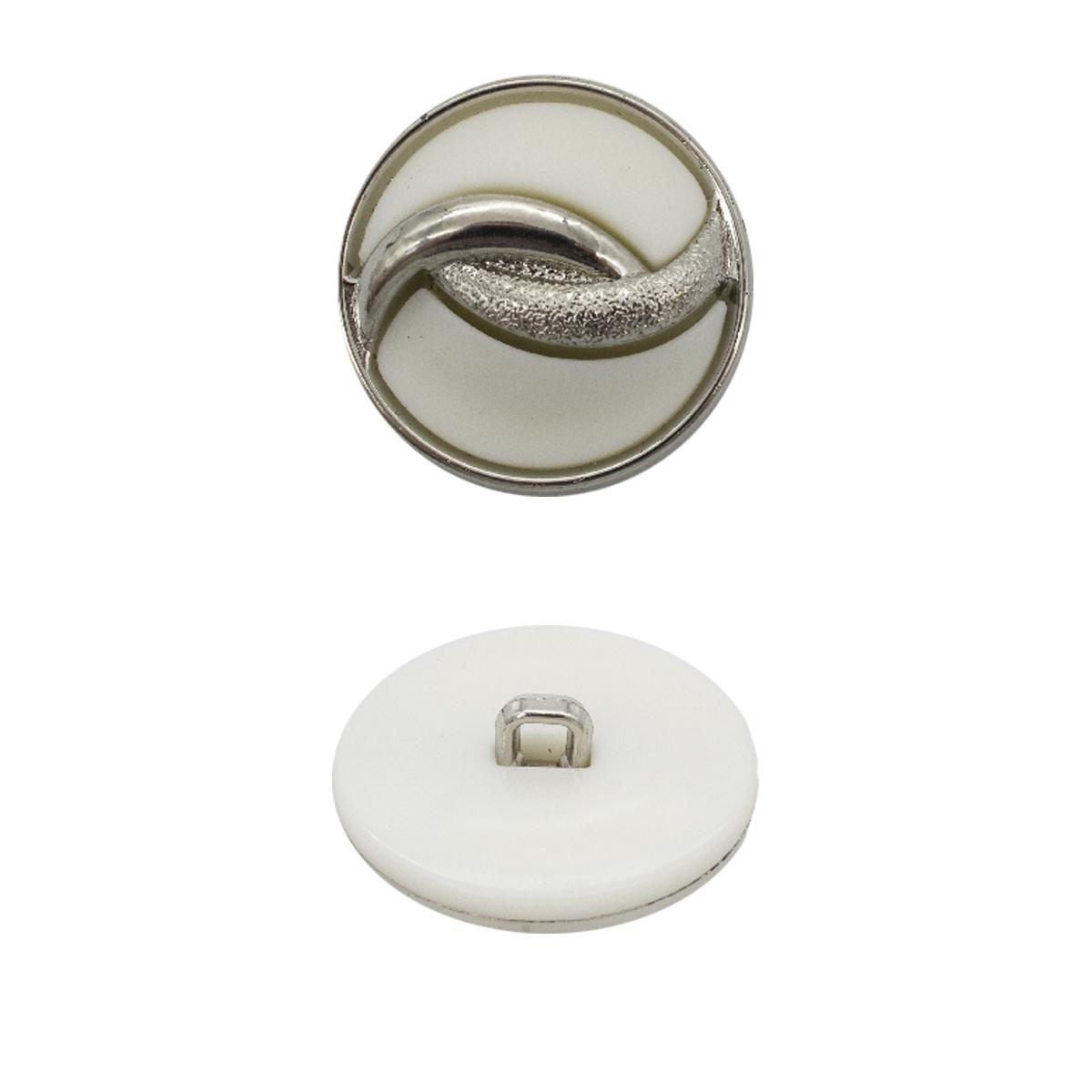 ВАВ3659 Пуговица 28мм (никель/белая резина)