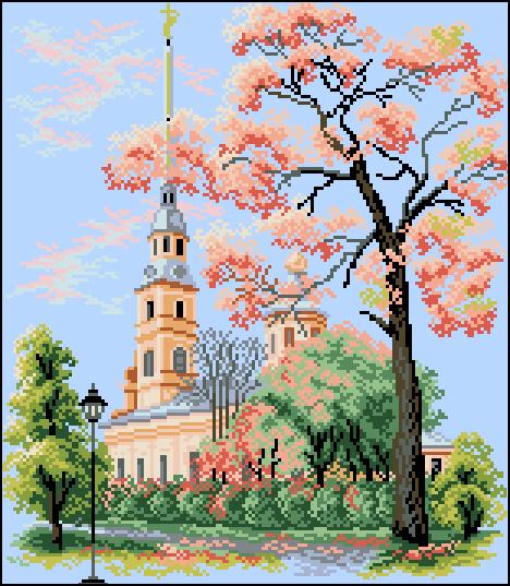 Г-008 Канва с рисунком Гелиос 'Собор Петра и Павла' 33,5х38,5см