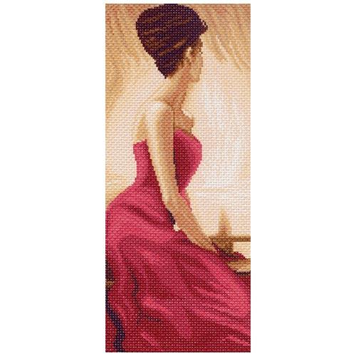 1055 Канва с рисунком Матренин посад 'Дама в красном' 16*39см (24*47см)
