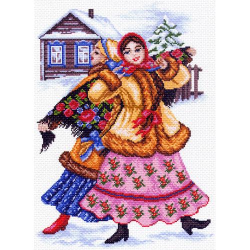 1465 Канва с рисунком Матренин посад 'Русские пляски' 27*38см (37*49см)