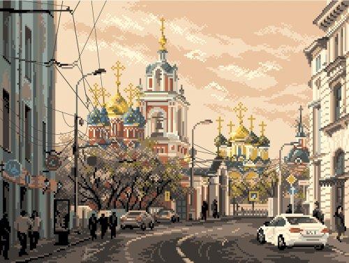 1801 Канва с рисунком Матренин посад 'Москва, ул. Варварка' 30*40см (37*49см)