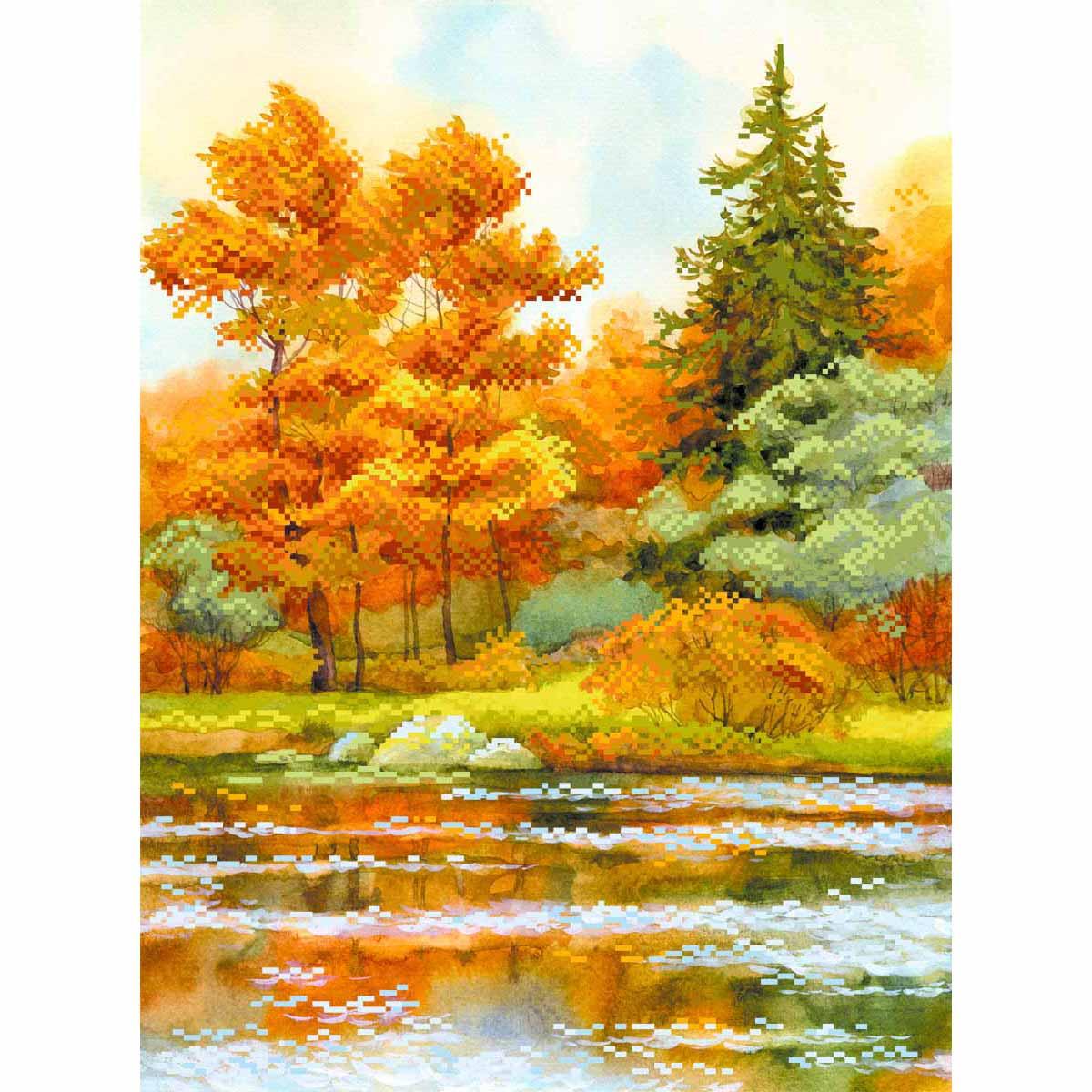 4155 Рисунок на шелке Матренин посад 'Янтарная осень' 29*39см (37*49см)