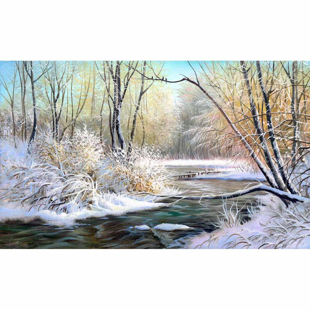 4228 Рисунок на шелке Матренин посад 'Зимняя река' 40*24см (37*49см)