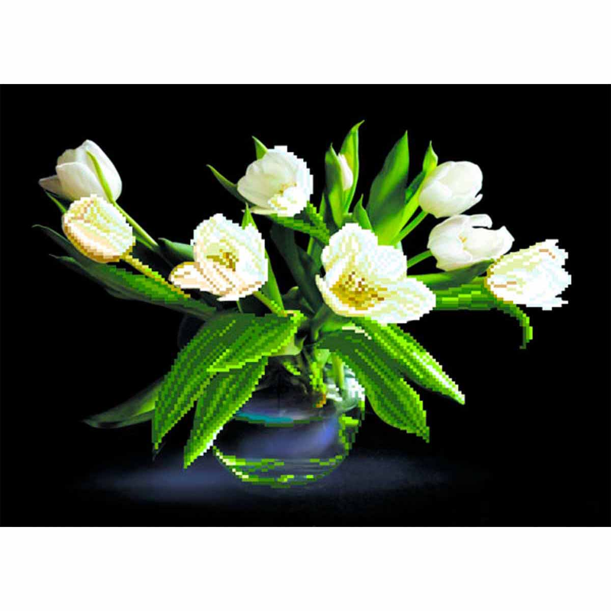 4077 Рисунок на шелке Матренин посад 'Белые тюльпаны' 33*45см (37*49см)