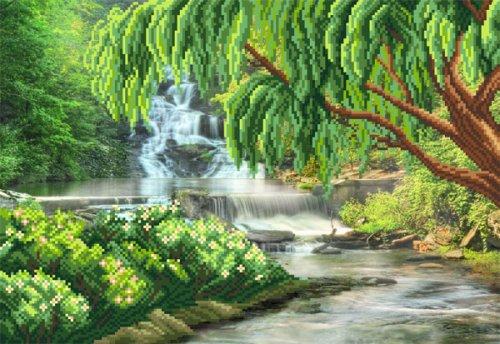 4119 Рисунок на шелке Матренин посад 'Ива над рекой' 33*45см (37*49см)