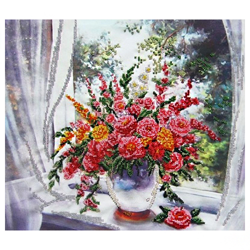 60006 Набор для вышивания бисером Astrea 'Цветы у окна' 40х36см