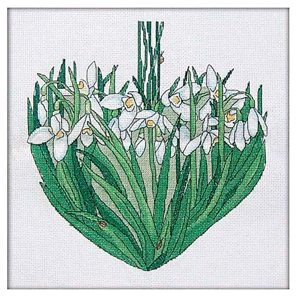 011 Набор для вышивания крестом Astrea 'Подснежники сердце. Март' 24х25см