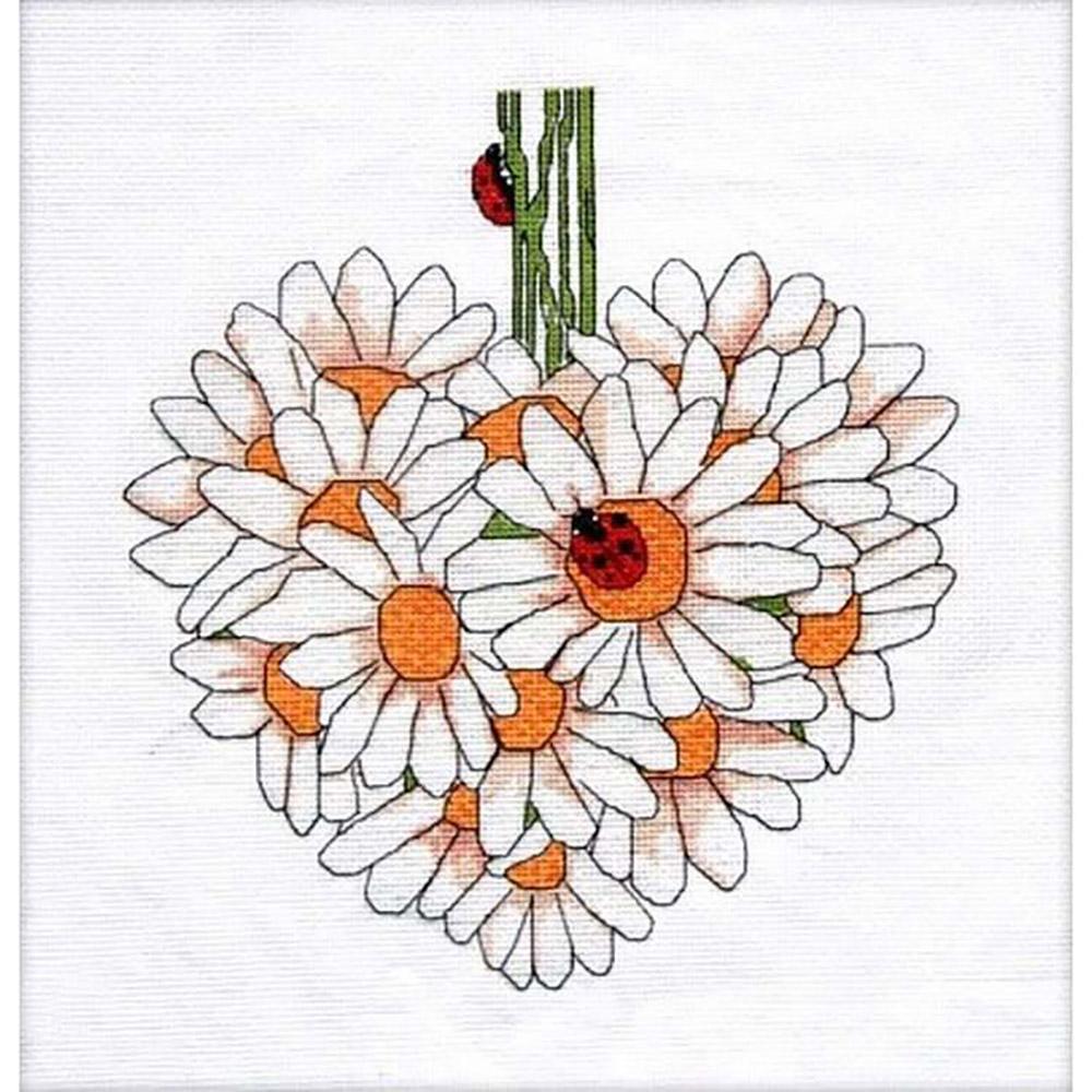 014 Набор для вышивания крестом Gluriya 'Ромашковое сердце. Июнь' 34х37см
