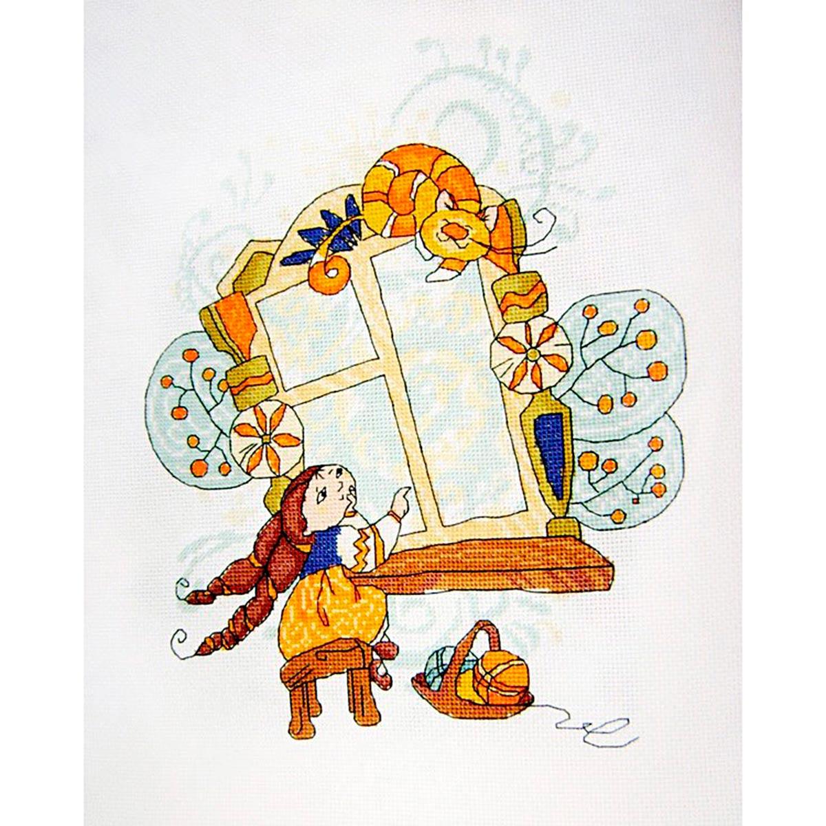 612 Набор для вышивания крестом Astrea 'У окошка' 23х30см