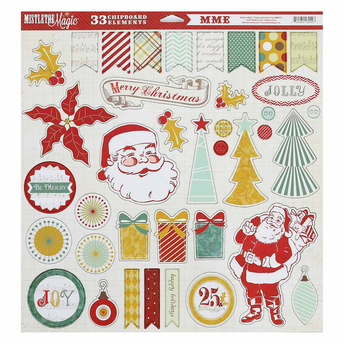 MM1012 Стикеры из чипборд My Mind's Eye Mistletoe Magicа 30*30см