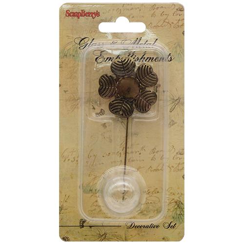 SCB24001012 Набор Шпилька-цветочек со стеклянным украшением 20мм