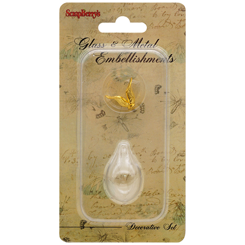 SCB24001014 Набор стеклянный кулон-капля, золото 18х30мм