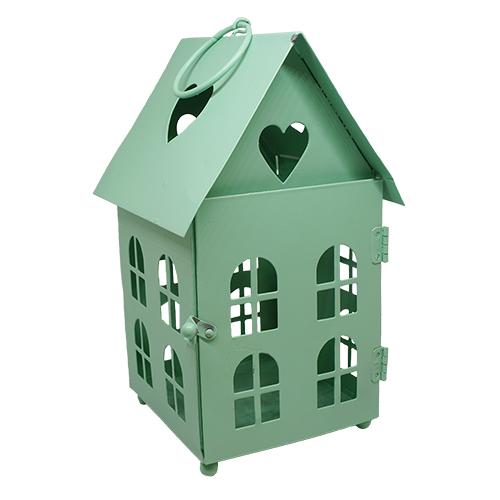 BL0070132 Декоративный домик-фонарик, металл, мятный, 11х11х18см