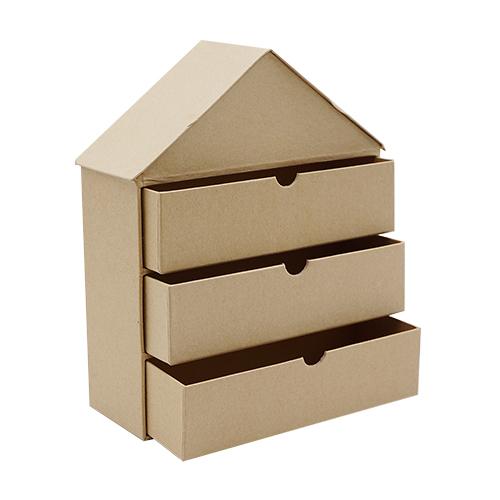 SCB271053 Заготовка из папье-маше 'Домик с тремя ящиками' 19x7x23,5см