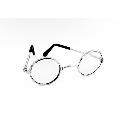 26509 Очки со стеклом металл, 70*22 мм, серебро, упак/1шт