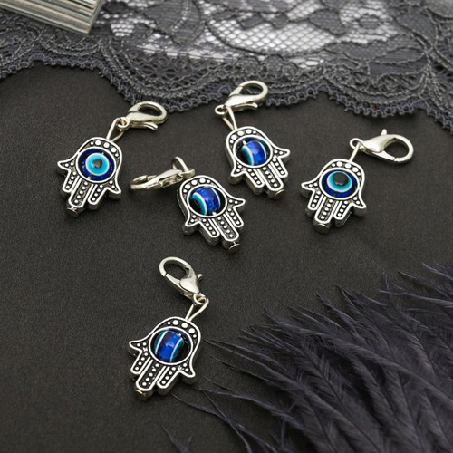 2308713 Шармик 'Оберег' рука хамса, цвет синий в серебре