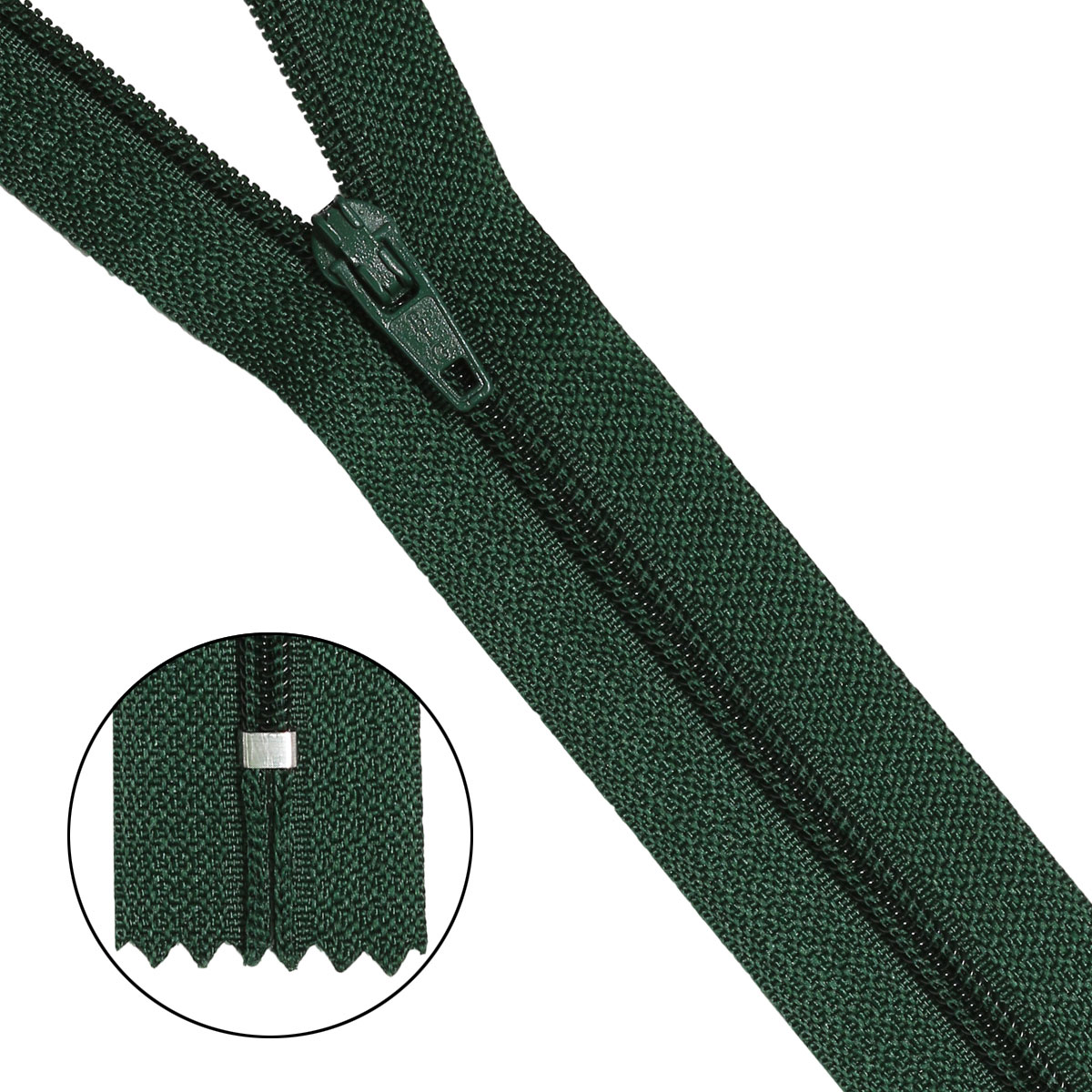 30102 Молния пластиковая зеленый нейлон тип-3 авт 20 см ГР