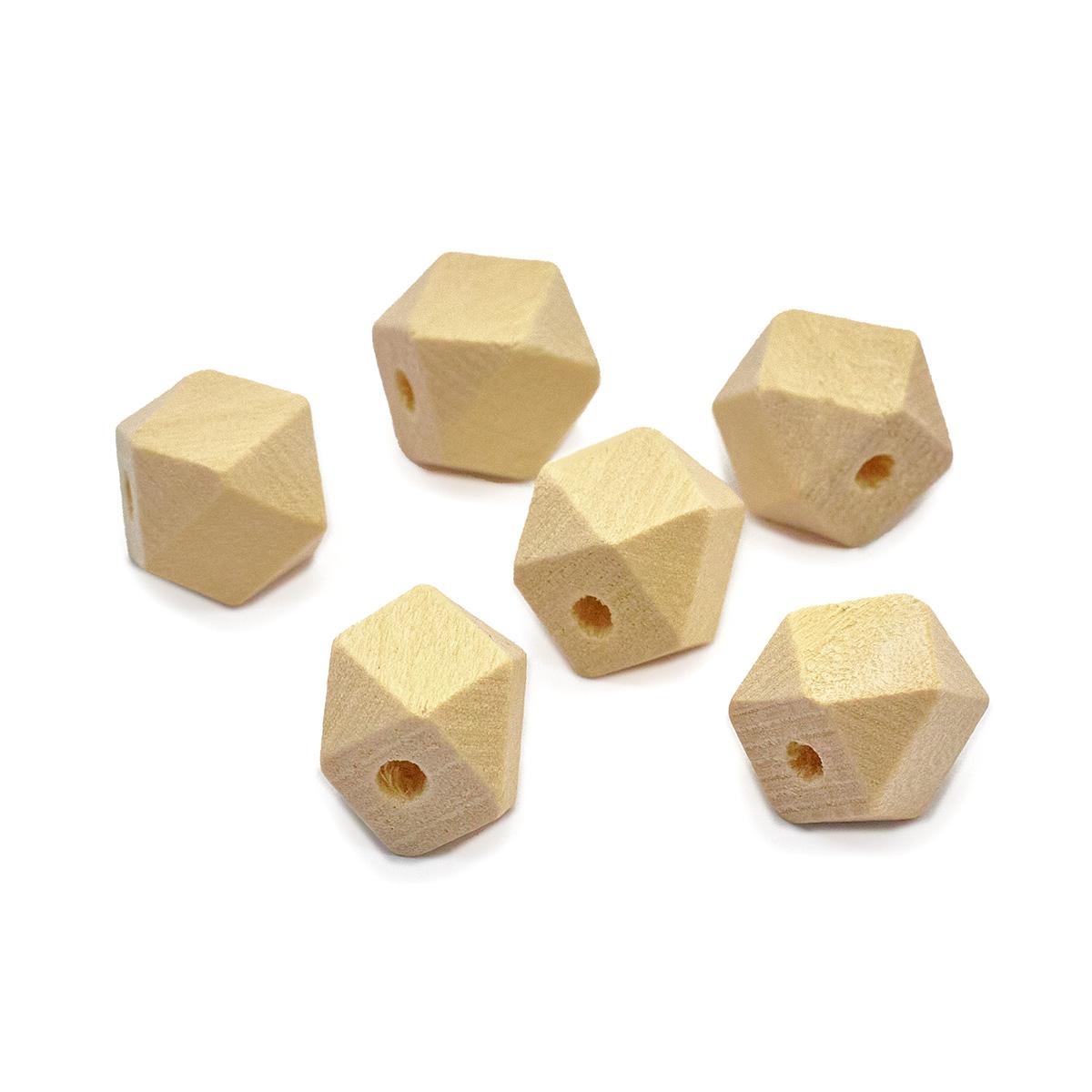 Бусины деревянные неокрашенные многогранник 10*10 мм, 6шт