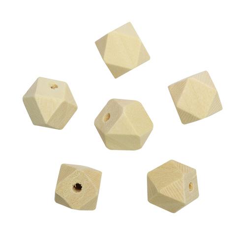 Бусины деревянные неокрашенные многогранник 12*12 мм, 6шт