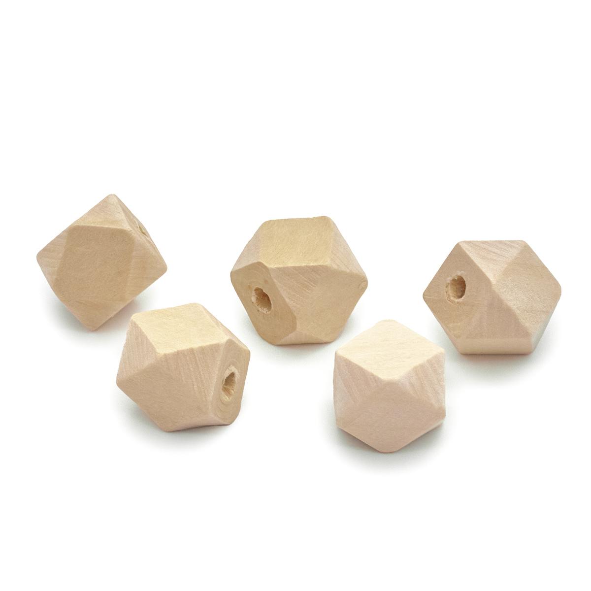Бусины деревянные неокрашенные многогранник 14*14 мм, 5шт