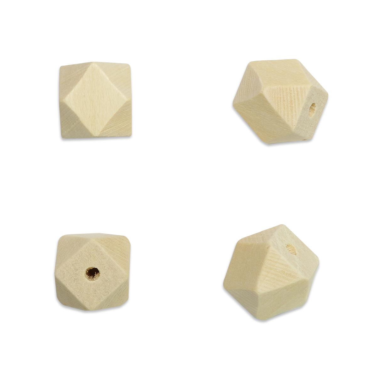 Бусины деревянные неокрашенные многогранник 16*16 мм, 5шт