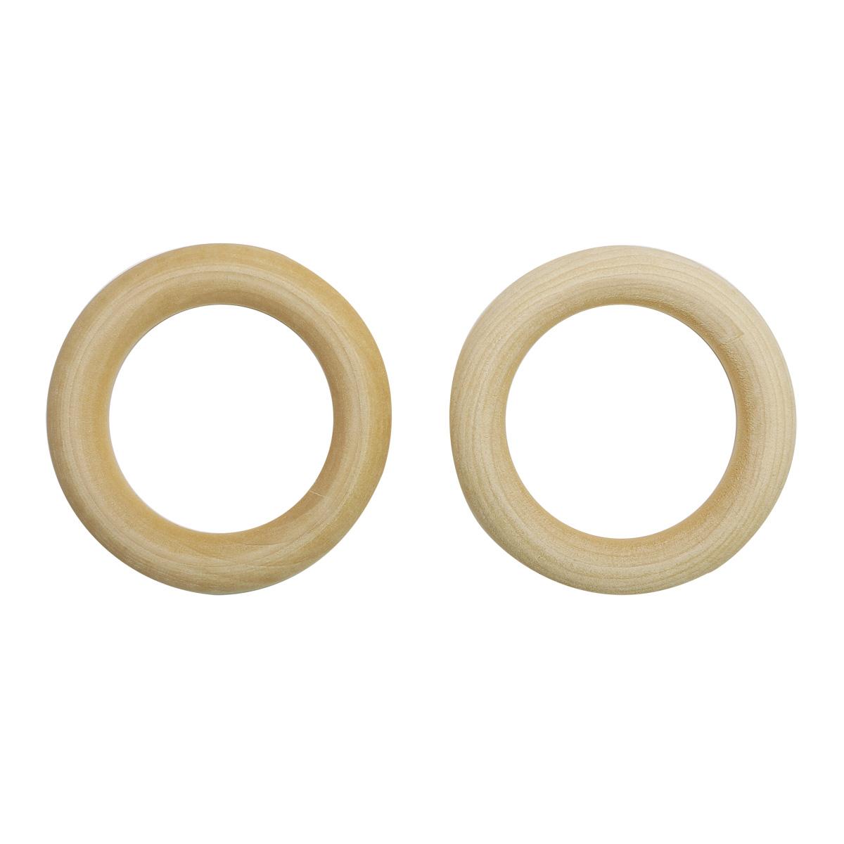 Бусины деревянные неокрашенные кольцо 60 мм, 3шт