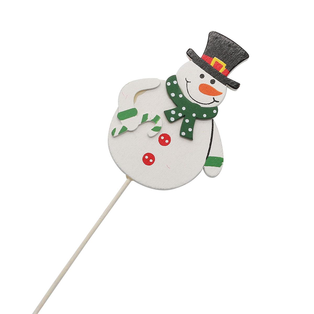 70550 Вставка НГ Снеговик в шарфе8х20см бело-зеленый