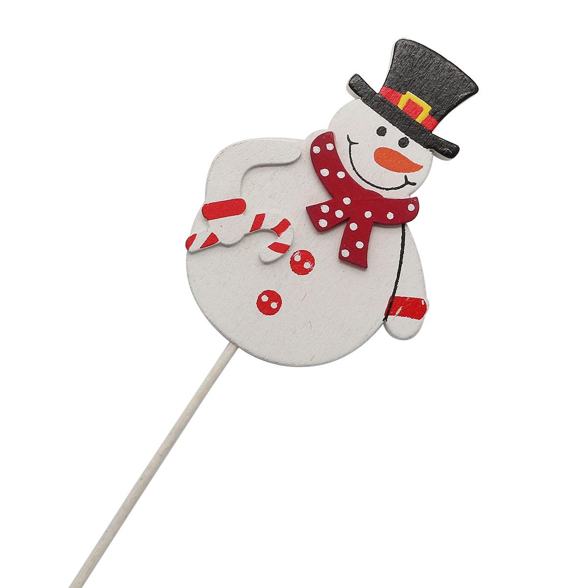 70552 Вставка НГ Снеговик в шарфе8х20см бело-красный