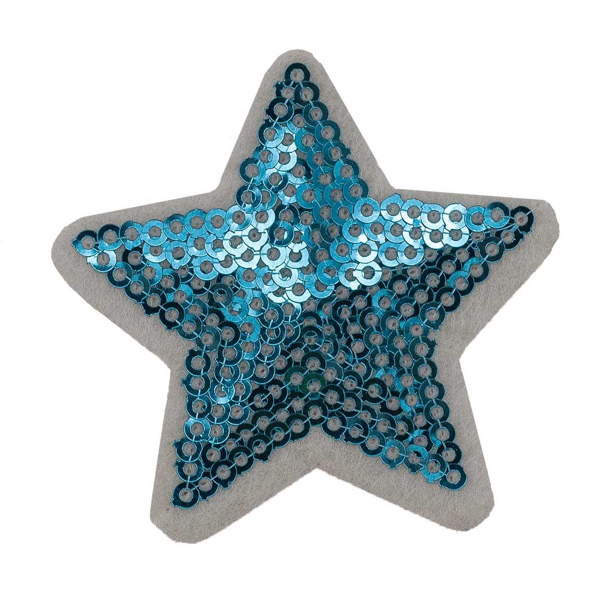 1881035 Термоаппликация звезда 5,2*5,2см бирюзовый пайетки упак/10шт