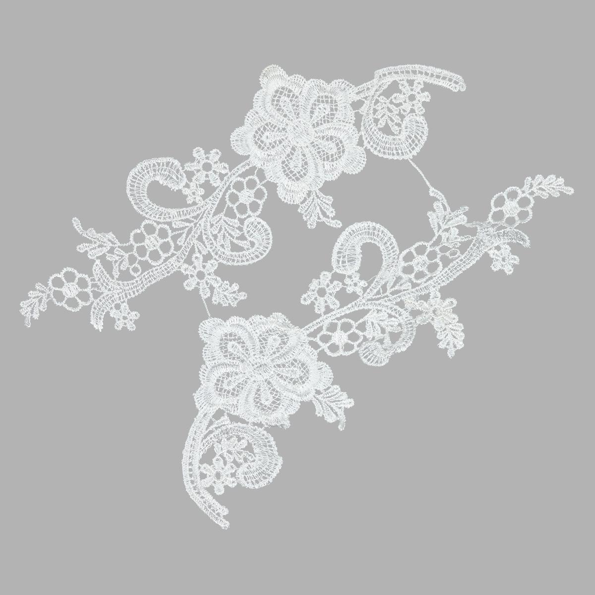 3557525 Аппликации пришивные лейсы полиэстер 24*8см белый