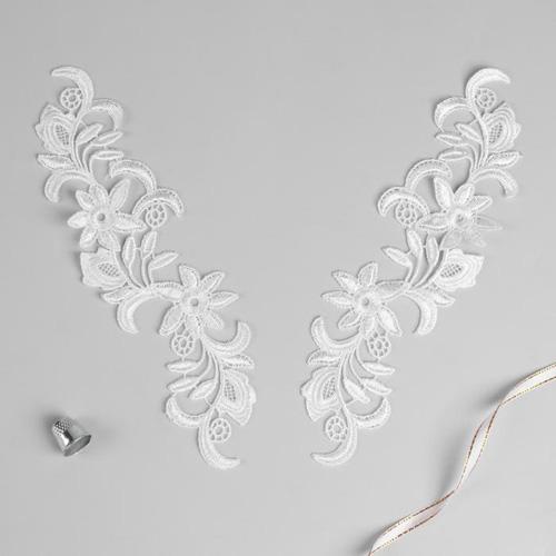 3557526 Аппликации пришивные лейсы полиэстер 25,5*7см белый