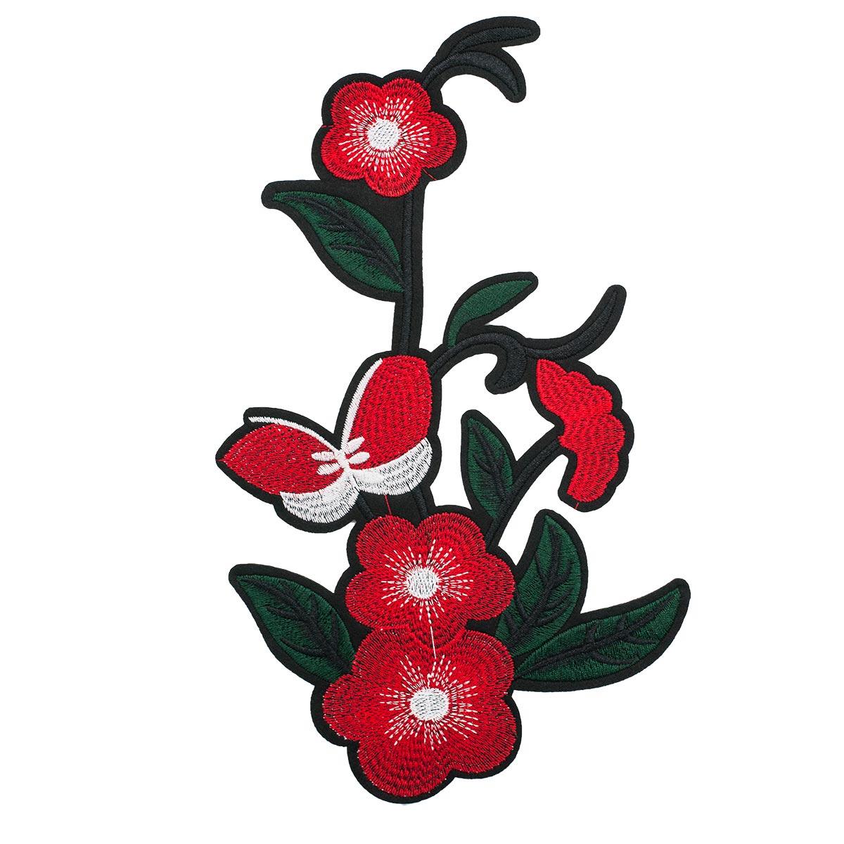 3783607 Термоаппликация цветы с бабочкой 24,5*15см