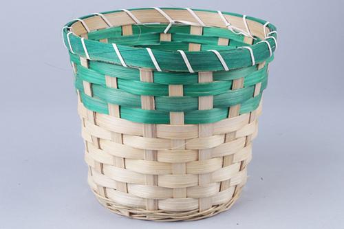 66925 Кашпо из бамбука круглое 18х15см натуральный/зеленый