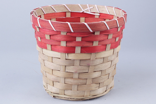 66927 Кашпо из бамбука круглое 18х15см натуральный/красный