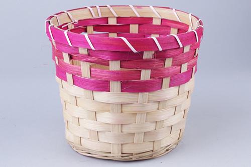 66929 Кашпо из бамбука круглое 18х15см натуральный/розовый