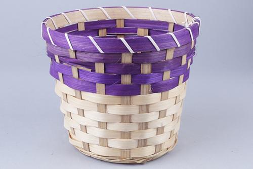 66932 Кашпо из бамбука круглое 18х15см натуральный/фиолетовый