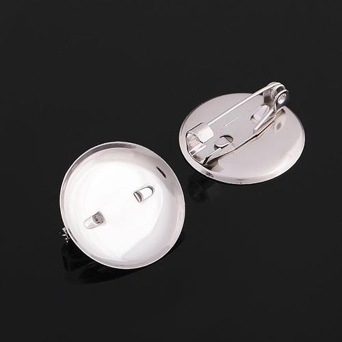 3527061 (СМ-367) Булавка для броши с круглым основанием 20 мм, цвет серебро, упак/5шт