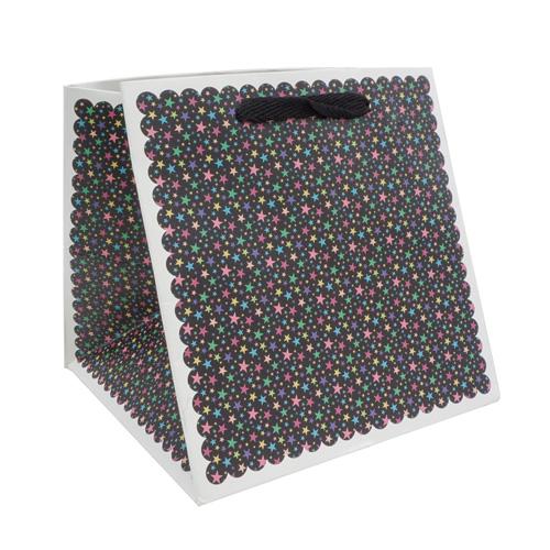 2478286 Пакет для цветов 'Звёзды', чёрный, 17 х 17 х 17 см
