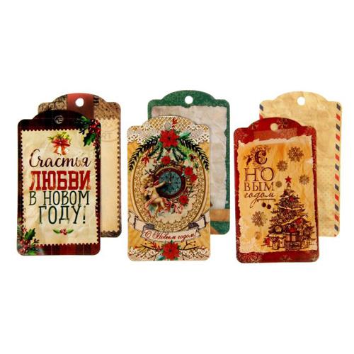 1426868 Набор декоративных шильдиков 'Рождественское ретро', (6шт, 5*9 см)