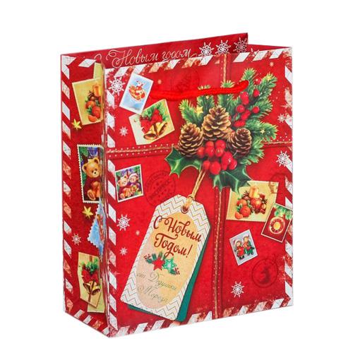 2113803 Пакет ламинат вертикальный 'Подарок от Деда Мороза', S 11* 14*5,5 см