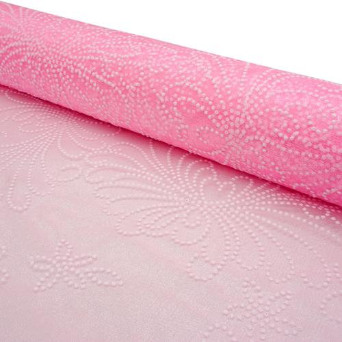 460039785 Органза с объемным рисунком Завитки 50см*9.5м розовая