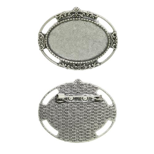 1507989 (Х105) Основа для броши площадка 25*35мм, цвет черненое серебро, упак/2шт