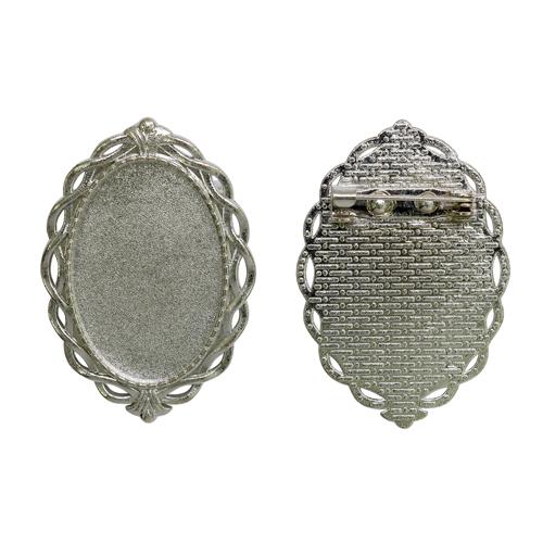 1507999 (Х091) Основа для броши, площадка 20*30мм, цвет серебро, упак/2шт