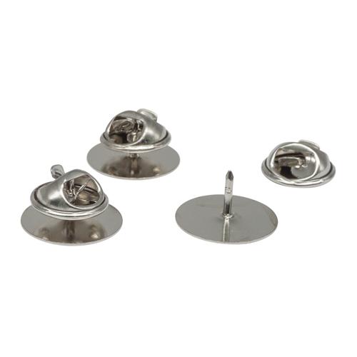 2328120 Основа для броши/значка, площадка 1,5 см, цвет серебро, упак/5шт