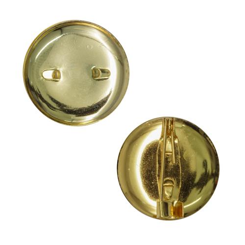 3527060 (СМ-367) Булавка для броши с круглым основанием 20 мм, цвет золото, упак/5шт
