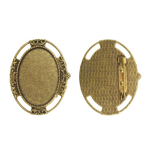 1507988 (Х105) Основа для броши площадка 25*35мм, цвет черненое золото, упак/2шт