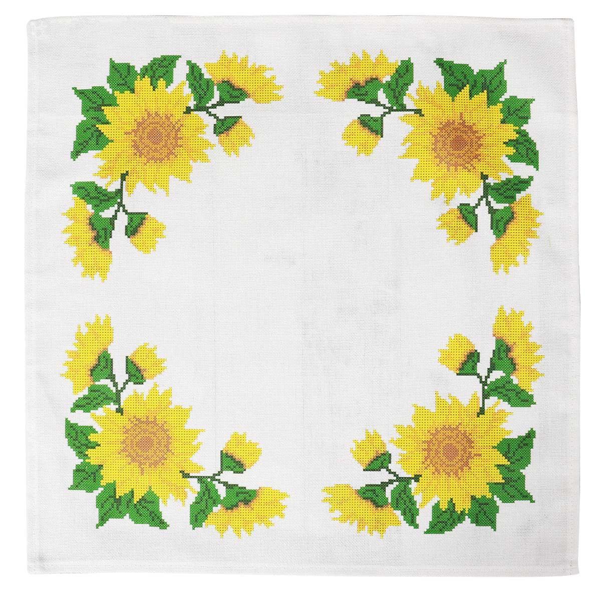 ККСН 008 Набор салфетка для вышивки крестом «Подсолнухи» 45*45см