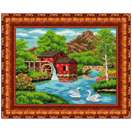 Кткн 114 Набор для вышивания Каролинка 'Старая мельница'22,4x30 см