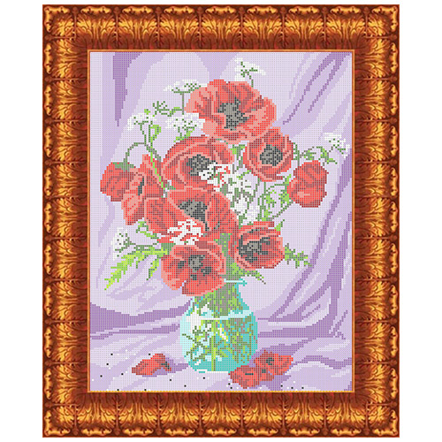 Кткн 115 Набор для вышивания Каролинка ' Маки в вазе'22,4x30 см