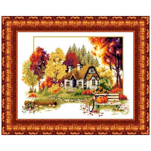 Кткн 120 Набор для вышивания Каролинка ' Осенний домик'32x47 см
